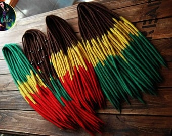 Full set of rasta wool double ended dreads rastafari hair extensions felt