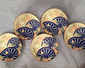 Set of 5 Oriental Japanese Bowls, Blue Fans & Pink Cherry Tree Blossoms, Excellent Porcelain Set, No Damage