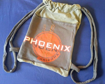 PHOENIX T-Shirt Bag Re-Purposed Upcycled 100% Cotton Drawstring Handmade Tote Bag made from Recycled T-Shirts