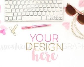 Feminine Pink Heart Keyboard Styled Desktop, Styled Stock Photography, Feminine Styled Mockup, Product Background Photo, Desk Mockup Photo