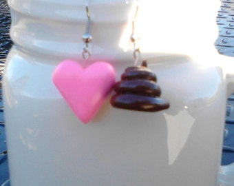 Love stinks dangle heart and poo earrings