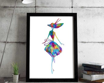 The happy lady - Fine Art Giclee Print watercolor painting