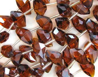"""12x18mm faceted crystal nugget beads 7"""" strand brown 10 pcs 30364"""