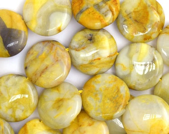 """20mm yellow crazy lace agate coin beads 15.5"""" strand 36717"""