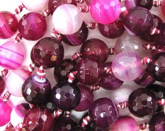 """12mm faceted magenta stripe agate round beads 7"""" strand 14097"""
