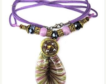 "40% CLEARANCE Lavender lampwork glass flat teardrop pendant necklace 16"" 34913"