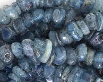 "8-10mm blue kyanite chip nugget beads 16"" strand"