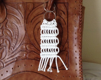 Stairway to Heaven Macrame Key Ring, Purse Charm, Purse Accessory