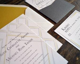 "Deposit for Wedding Invitation Suite - ""Maxwell"" Modern Diamond Pattern"