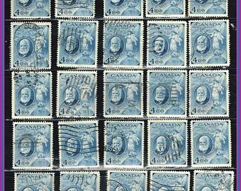 25 Blue Vintage Stamps - Alexander Graham Postage Stamps