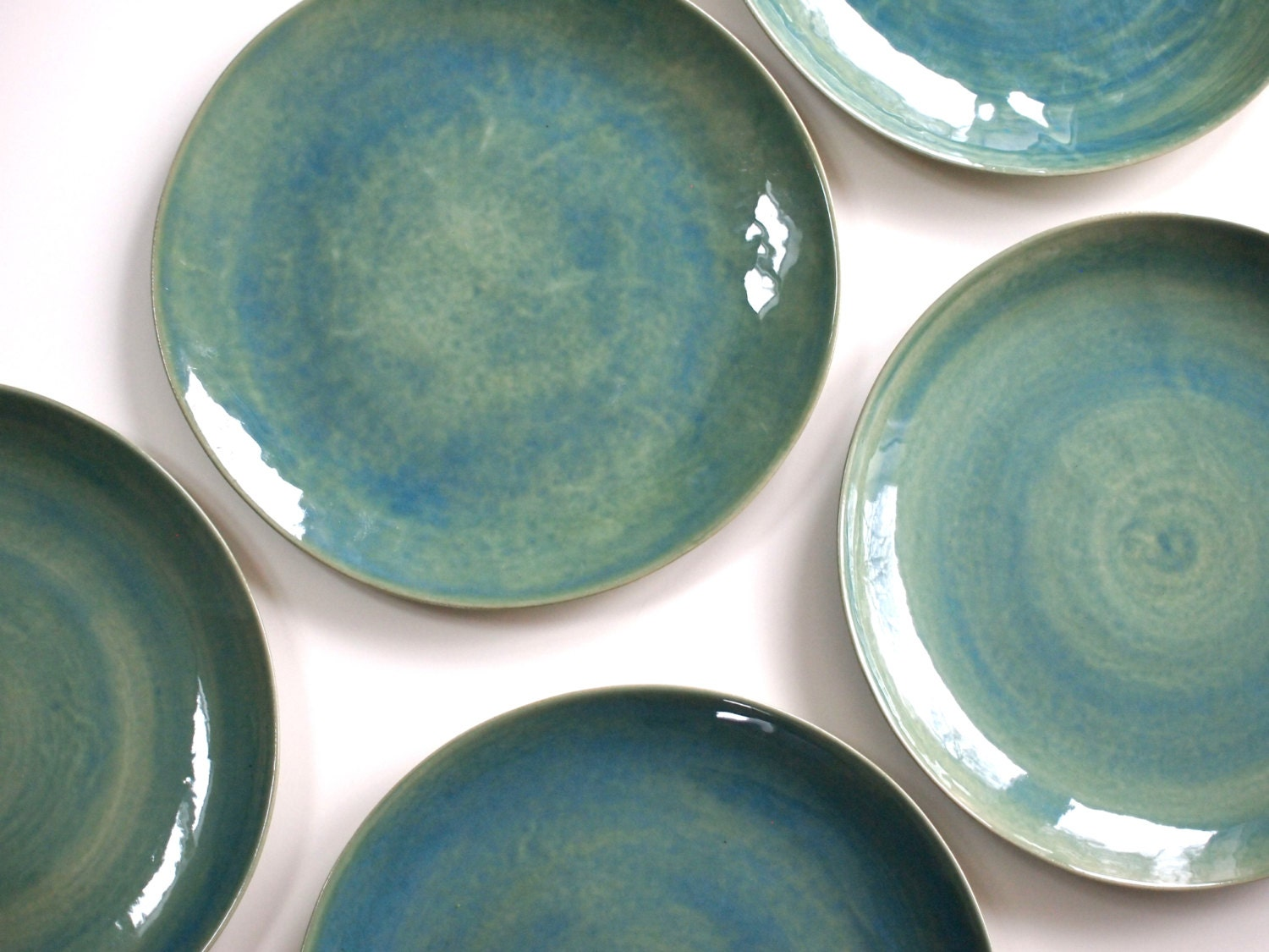 Stoneware Plates Dinner Set Glazed In Green Ceramic Plate