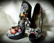 black sugar skull peep toe shoes