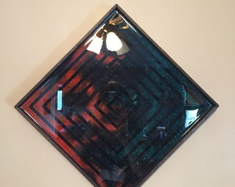 Resin Coated Cosmos Painting on Birch - Charred Oak Frame