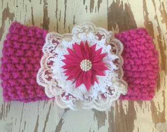 Baby / Little Girls Knitted Earwarmer / Headwarmer Embellished Headband in Bright Pink and White 0-3years
