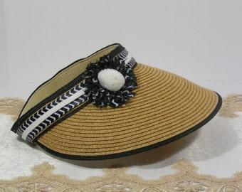 Sun Visor Hat, Sun Hat, Beach Hat, Packable, Sun Visor, Straw Hat, Visor, Rolls for easy Travel Hat,Tan Heather, Seashell Decoration