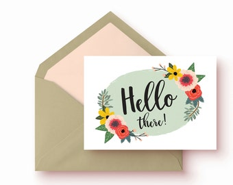 Hello There Cards| 8 card set | illustrated with flowers
