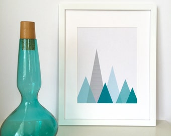 Mountain Print, Geometric Art, Blue Mountains, Mountain Art, Turquoise Wall Art, Mountain Wall Art