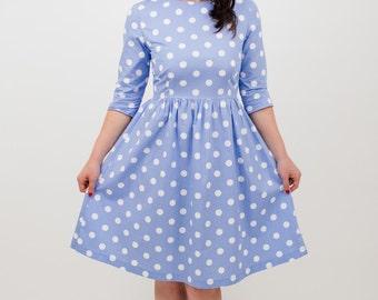 Polka dot dress, blue polka dot dress, midi-length dress, cotton dress, summer dress, occasion wear, every day wear, sky blue dress, casual