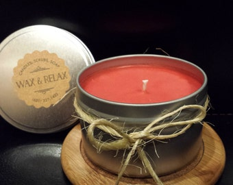 APPLE-CINNAMON 100% Natural Soy Candle Hand Poured 8oz