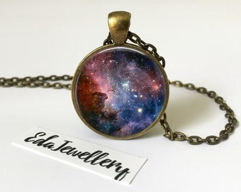Space Pendant, Blue and Red Galaxy Necklace, Universe, Solar System, Jewellery