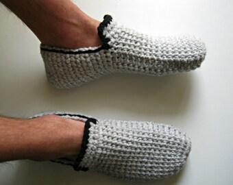 Gift for Men, Crochet Slippers, Mens Slippers, House Shoes, Mens Loafers, Slipper Boots, Crochet Shoes, Gray, Mens Gift, Christmas Gifts