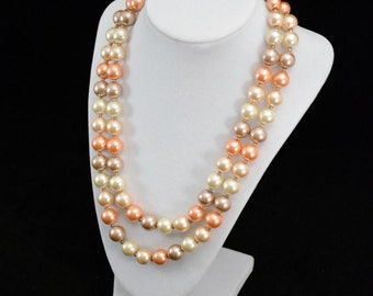 Vintage ESMORE Pink Tone Large Chunky Bead Necklace..Double Strand   J310