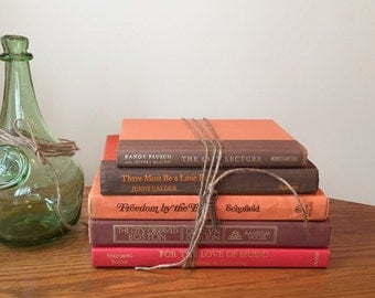 Orange and Brown Books, Books by Color, Book Stack, Vintage Book Bundle, Books for Decor, Brown Books, Orange Books