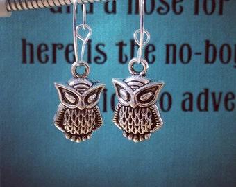Owl Charm Hoop Earrings