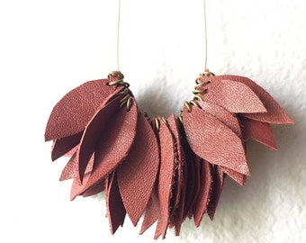 Red Leather Leaves Necklace