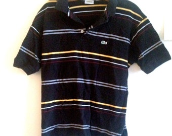 Vintage Lacoste//Black-yellow-red//Striped//100% Cotton//Polo//Large(5)