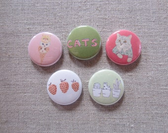 kitty cat love 5 pack pinback buttons