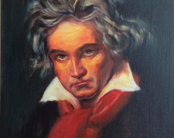 100% Handmade Small Oil Painting, Ludwig Beethoven, German Composer, Musician, Oil on Canvas Board,Music Lover Gift, Pianist,Classical Music
