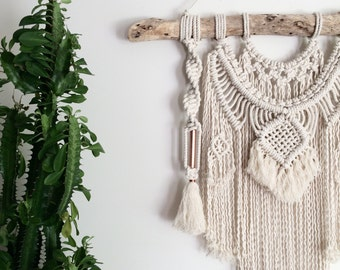Macrame Wall Hanging on Driftwood with Weave, Copper, Tassels, Frills, Fringing || Boho Luxe, Nursery Art, Gypsy Decor, Wall Art, Tapestry
