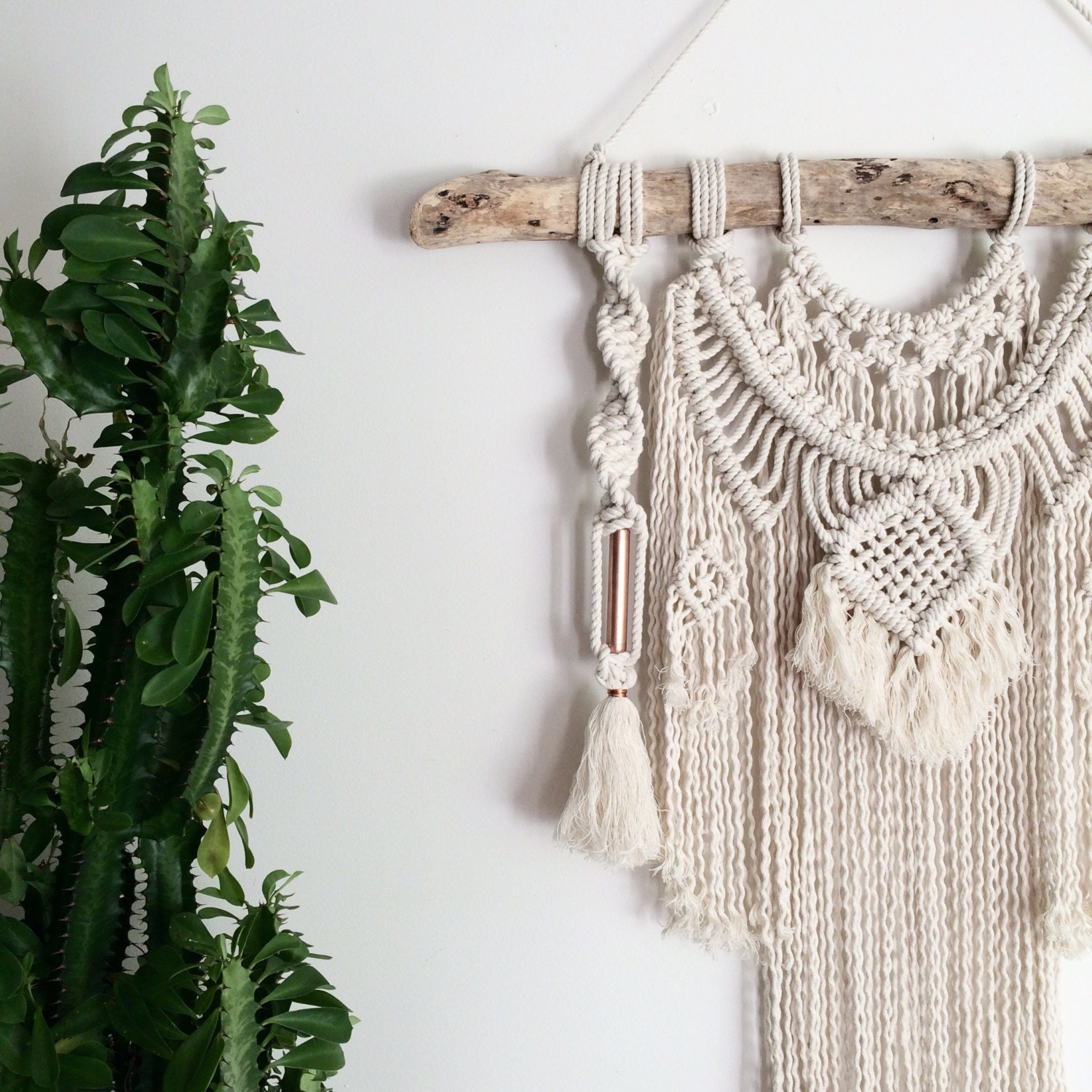 Macrame Wall Hanging On Driftwood With Weave Copper Tassels
