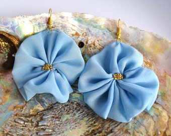 Handmade Chiffon Flower Earrings