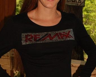 Re/Max  rhinestone  bling  shirt,  all sizes XS, S, M, L, XL, XXL, 1X, 2X, 3X, 4X, 5X rhinestone rectangular  Re/Max