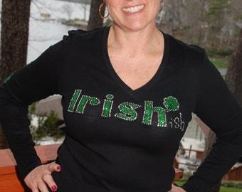 St Patricks Day Irish-ish  rhinestone bling shirt,  XS, S, M, L, XL, XXL, 1X, 2X, 3X, 4X, 5X