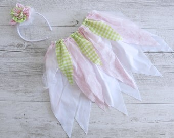 Garden Pixie Pink Green Fairy Skirt Flower Crown Gypsy Skirt Faerie Skirt Girls Birthday Outfit Shabby Chic Outfit Flower Girl Dress Wedding
