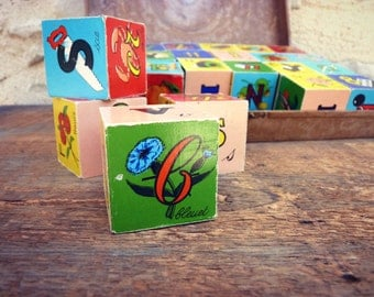 Vintage alphabet cubes - box - french Garnier game - complete alphabets and numbers vintage 24 cubes