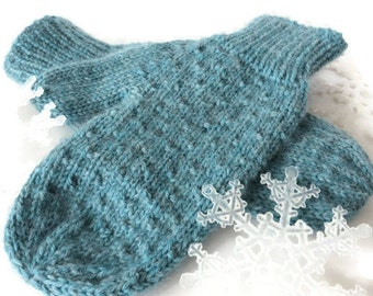 HAND KNIT Teal MITTENS / Hand knit mittens / Handmade Mittens / Blue Mittens /Teal Mittens (Mitt106)