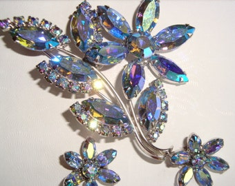 AB Crystal Layered Flower and Leaf Demi Parure ~ AMAZING