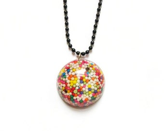 Candy sprinkle necklace ~ dome. circle. sprinkles. sweeties. rainbow. colourful