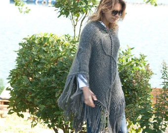 Poncho Grey Anthracite wool, hand-knitted