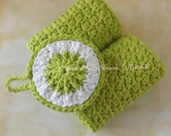 Handmade crochet Exfoliating washcloth and facial scrubbie set, bath spa set,cotton facecloth, green facecloth, Ready to ship