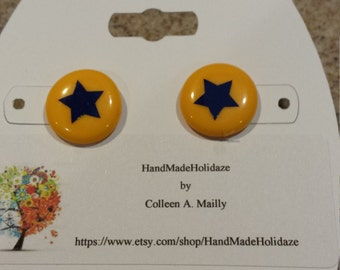 Button Earrings with Navy Blue Stars