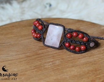 Bracelet with Rose Quartz and coral