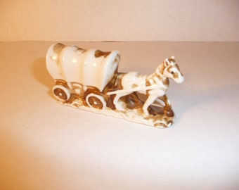 Covered Wagon and Horse Figurine