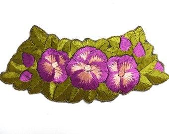 Floral Trim Applique, 1930s embroidered applique. Vintage patch, sewing supply. #642GC1K6