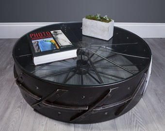 "Upcycled vintage ""Wheel"" coffee table"