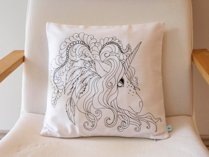 unicorn unicorn pillow coloring pillow coloring book. Black Bedroom Furniture Sets. Home Design Ideas